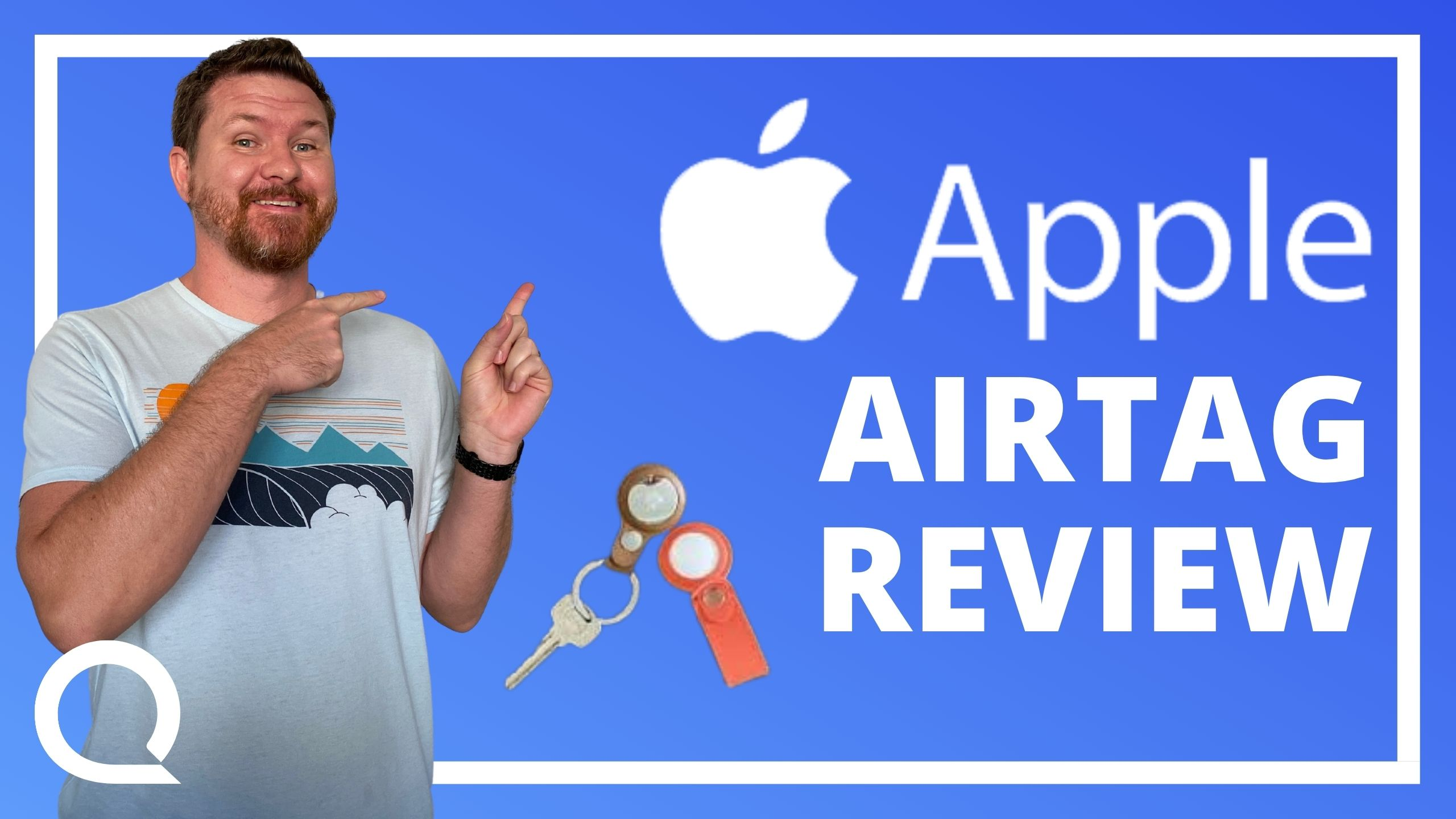 """A man pointing at Apple logo and text """"Apple Airtag Review"""" next to a key on a keychain."""