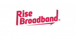 A logo for Rise Broadband with the words Rise and Broadband in red