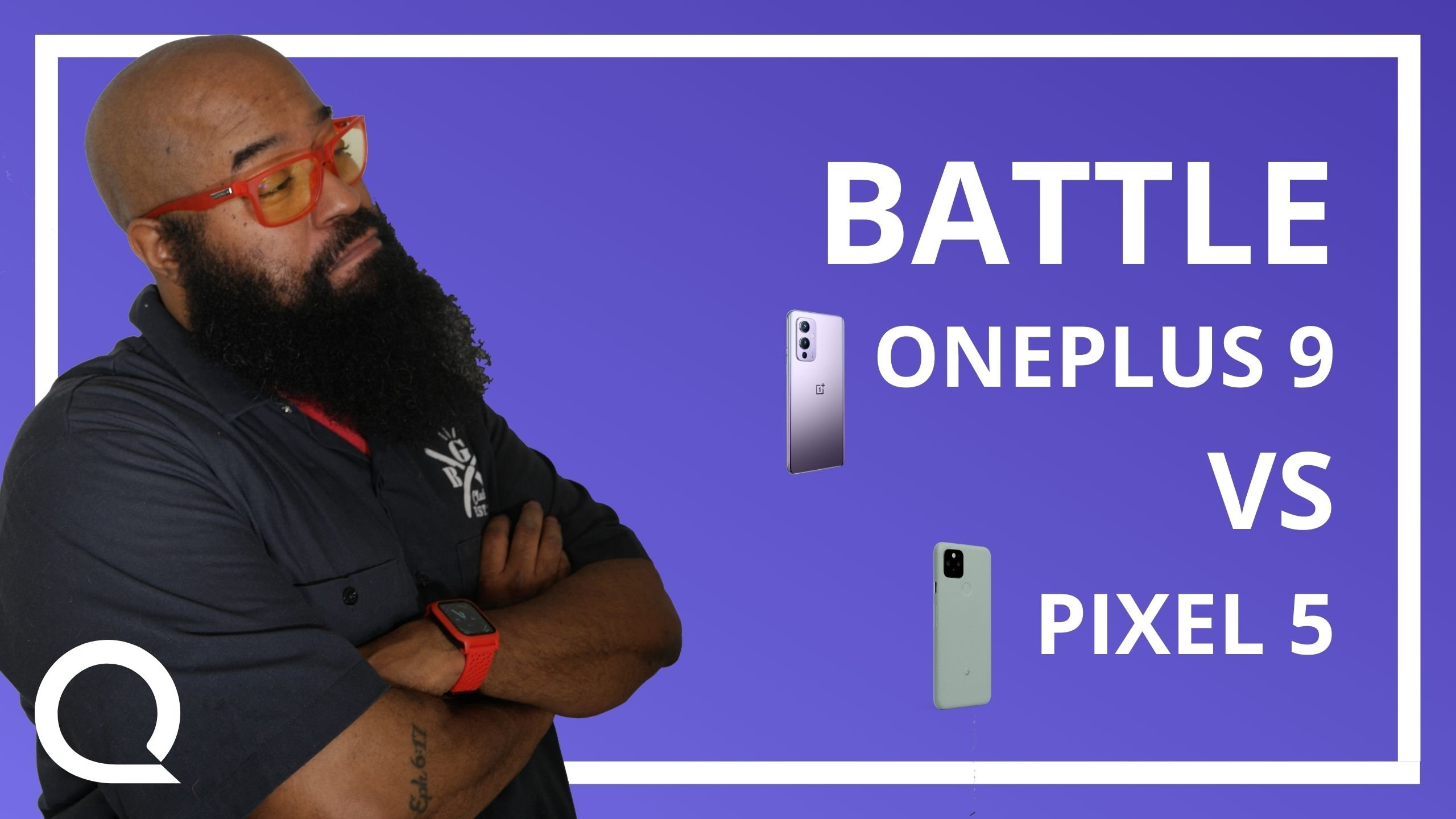 """A man is folding his arms and surveying text """"Battle Oneplus 9 VS Pixel 5"""" and two corresponding smartphones."""