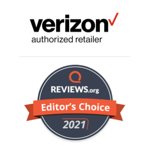 An awards badge for Verizon Fios Home Internet as the Reviews.org Editor's Choice internet provider for 2021